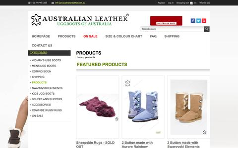 Screenshot of Products Page australianleather.com.au - Australian Leather Pty Ltd. PRODUCTS - captured Oct. 5, 2014