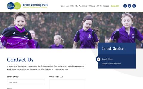 Screenshot of Contact Page brooklearningtrust.org.uk - Brook Learning Trust - Contact Us - captured July 10, 2018
