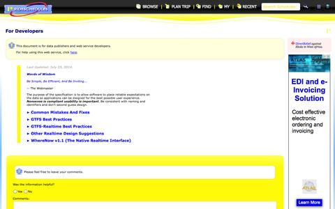 Screenshot of Developers Page rideschedules.com - Developer Info | RideSchedules - captured Nov. 4, 2014
