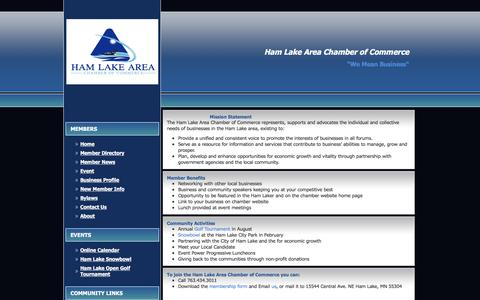 Screenshot of About Page hamlakecc.org - Ham Lake Area Chamber of Commerce - About Us - captured Jan. 25, 2016