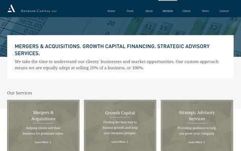 Screenshot of Services Page aethlon.com - Aethlon Capital Investment Banking Services: Mergers & Acquisitions, Growth Capital Financing, Strategic Advisory - captured Nov. 2, 2014