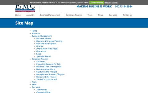 Screenshot of Site Map Page emcltd.co.uk - Site Map | EMC Management Consultants Ltd - captured Sept. 25, 2018