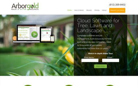 Screenshot of Home Page arborgold.com - Arborgold Software - captured Oct. 4, 2014