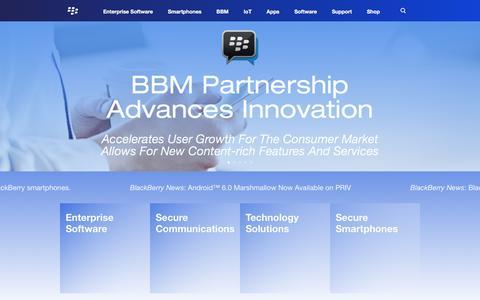 Screenshot of blackberry.com - BlackBerry Enterprise Mobility, BBM, Smartphones & Support - - captured July 1, 2016