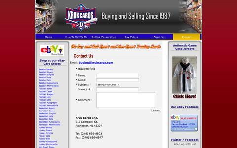 Screenshot of Contact Page krukcards.com - Contact Information | Kruk Cards of Michigan - captured Oct. 6, 2014