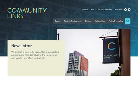 Screenshot of Signup Page community-links.org - Newsletter | Community Links - captured Nov. 5, 2018