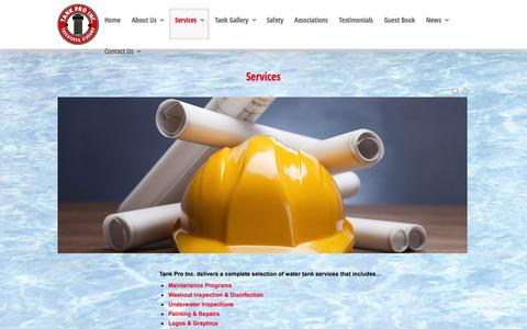 Screenshot of Services Page tankproinc.com - Services - captured Oct. 9, 2014