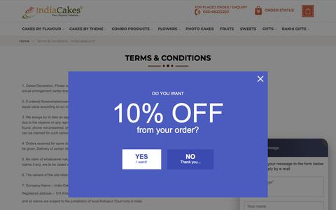 Screenshot of Terms Page indiacakes.com - Terms & Conditions - IndiaCakes.com - captured Aug. 12, 2019