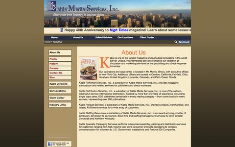 Screenshot of About Page kable.com - About Us | Kable Media Services - captured Sept. 30, 2014