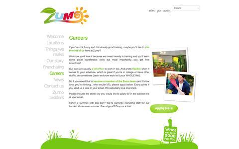 Screenshot of Jobs Page zumobars.com - Working at Zumo | zumobars - captured Nov. 5, 2014