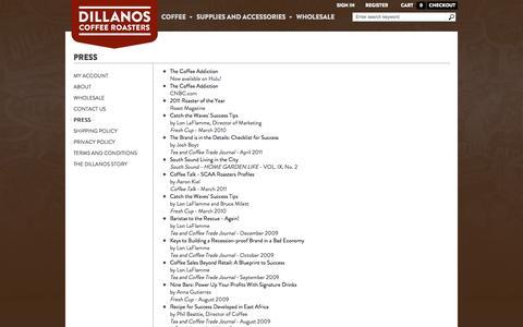 Screenshot of Press Page dillanos.com - Press - captured Oct. 5, 2014