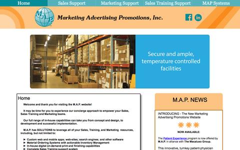 Screenshot of Home Page themapworld.com - Marketing Advertising Promotions, Inc. M.A.P., Inc. - captured Nov. 15, 2016
