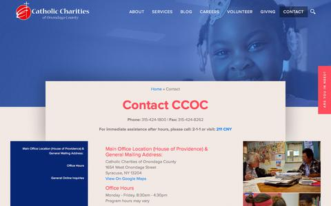 Screenshot of Contact Page ccoc.us - Contact | Catholic Charities of Onondaga County - captured July 18, 2017