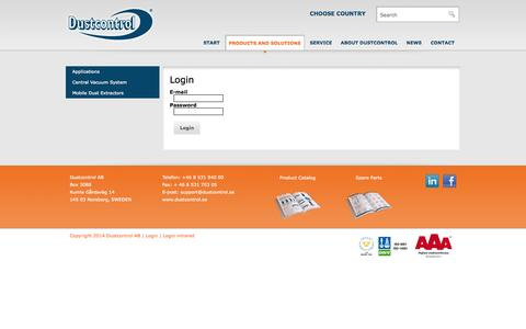 Screenshot of Login Page dustcontrol.com - Login - Dustcontrol - Technology for Clean Production. - captured Oct. 5, 2014