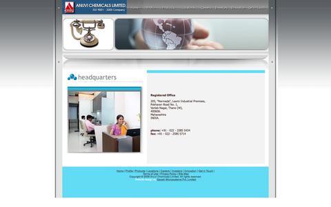 Screenshot of Locations Page anuvichem.com - ANUVI CHEMICALS LTD - captured Feb. 6, 2016