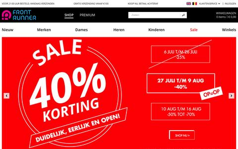 Screenshot of Home Page frontrunner.nl - Online Sneakers & Streetwear Webshop - Front Runner - captured Aug. 3, 2015