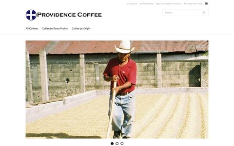 Screenshot of Home Page providencecoffee.com - Providence Coffee - captured Sept. 30, 2014