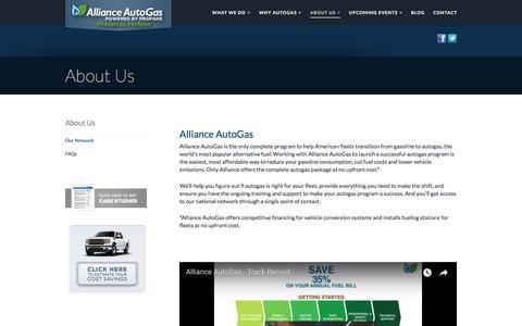 Screenshot of About Page allianceautogas.com - Learn about Alliance AutoGas' complete program for alternative fuel vehicles | Alliance AutoGas - captured July 29, 2018