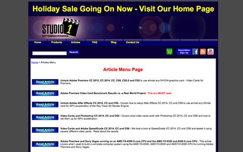Screenshot of Menu Page studio1productions.com - Articles on Video Production, Video Editing and more - captured Dec. 5, 2015