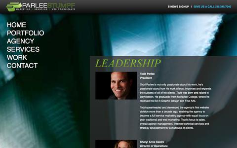 Screenshot of Team Page parleestumpf.com - Our Leadership: Full Service Advertising Agency & Marketing Firm: Doylestown PA - captured Jan. 25, 2016