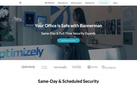 Screenshot of Home Page bannerman.com - Security Guard Services - Bannerman - captured May 17, 2016