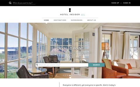 Screenshot of Home Page Login Page hotelinsider.com - Hotel Insider - Luxury Hotels and Resorts - captured Dec. 1, 2015
