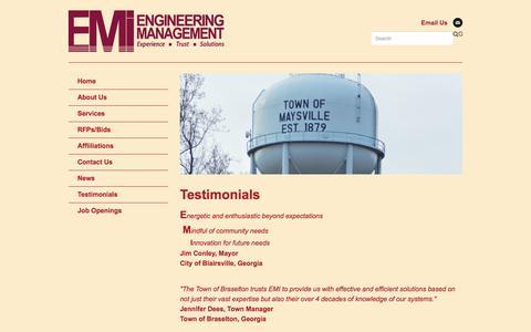 Screenshot of Testimonials Page eminc.biz - Testimonials - captured Aug. 3, 2017