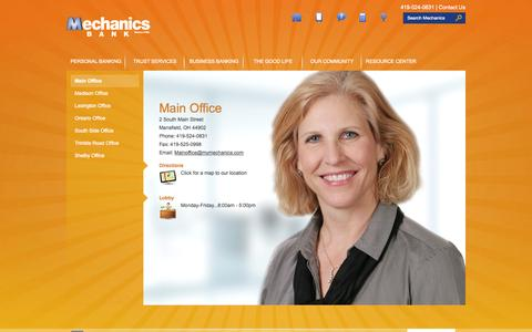 Screenshot of Locations Page mymechanics.com - Main Office - Mechanics Bank - captured Oct. 4, 2014