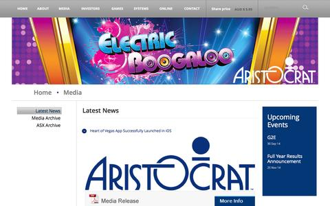 Screenshot of Press Page aristocrat.com.au - Latest News - captured Sept. 25, 2014