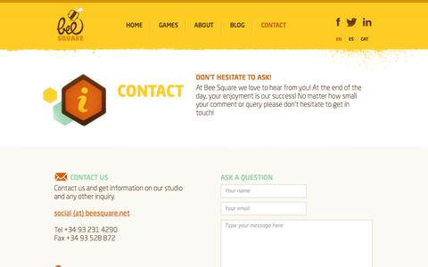 Screenshot of Contact Page beesquare.net - CONTACT - Bee Square - captured Oct. 5, 2014