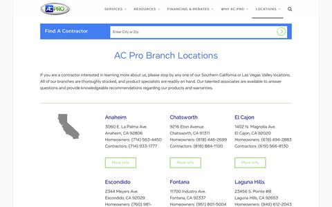 Screenshot of Locations Page acpro.com - AC & HVAC Repair Near Me - AC Pro Locations | AC Pro - captured Oct. 2, 2015