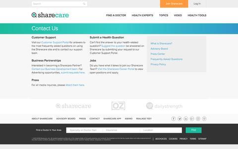 Screenshot of Contact Page sharecare.com - Contact Portal - Sharecare - captured May 9, 2017