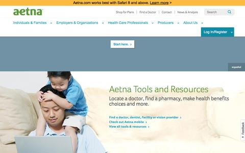 Screenshot of Home Page aetna.com - Health Plans & Dental Coverage | Aetna - captured Jan. 17, 2016