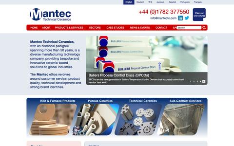 Screenshot of Home Page mantectechnicalceramics.com - Mantec Technical Ceramics are leaders in technical ceramic solutions. | Mantec Technical Ceramics - captured Feb. 3, 2016