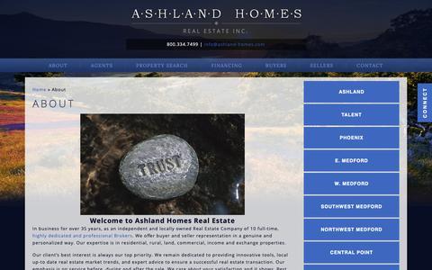 Screenshot of About Page ashland-homes.com - Real Estate Agents & Brokers - Ashland, Oregon | Ashland Homes Real Estate Inc - captured Nov. 13, 2018