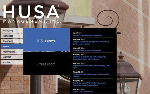 Screenshot of Press Page husainc.com - HUSA Management Inc. - captured Oct. 1, 2014