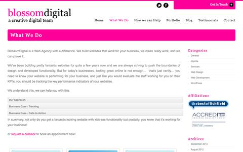 Screenshot of About Page blossomdigital.co.uk - What We Do | Blossom DigitalBlossom Digital - captured Oct. 5, 2014