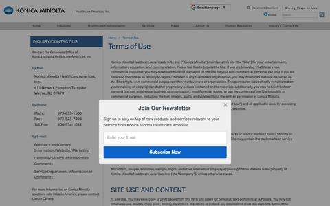 Screenshot of Terms Page konicaminolta.com - Terms of Use | Konica Minolta Healthcare Americas, Inc. - captured Oct. 17, 2018