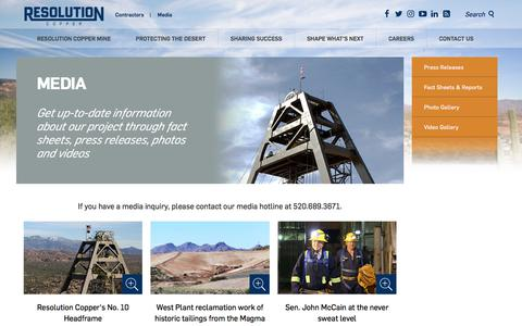Screenshot of Press Page resolutioncopper.com - Media - Resolution Copper - captured Sept. 20, 2018