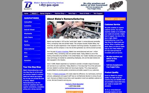 Screenshot of About Page blakesreman.com - Blake's Remanufacturing | Remanufactured Engines - captured Oct. 5, 2014