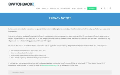 Screenshot of Privacy Page switchback.org.uk - Privacy Notice - Switchback - captured Oct. 19, 2018