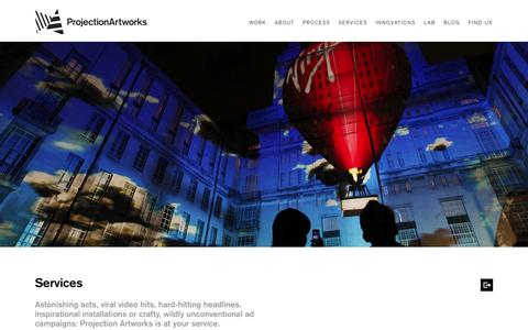 Screenshot of Services Page projectionartworks.com - Projection Artworks / services - captured Sept. 30, 2014