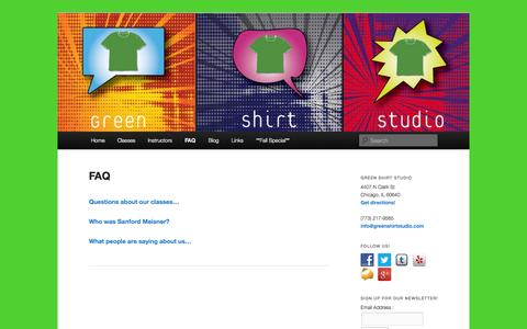 Screenshot of FAQ Page greenshirtstudio.com - Green Shirt Studio - Certified instructors of the Meisner Technique - captured Sept. 30, 2014