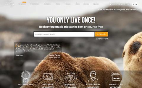 Screenshot of Home Page adventurelink.com - AdventureLink - Book your next adventure. - captured Sept. 13, 2014