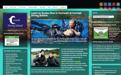 Screenshot of Home Page cornishdivingschool.co.uk - Learn to dive in Cornwall | Premier scuba diving centre Falmouth - captured July 25, 2015