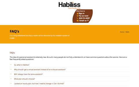 Screenshot of FAQ Page habiliss.com - Virtual Assistant FAQ - Pricing, Services & Info | Habiliss - captured Jan. 19, 2016