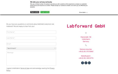 Screenshot of Contact Page labfolder.com - Contact - labfolder - captured Nov. 8, 2019