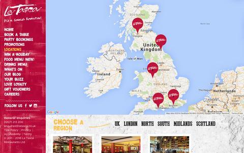 Screenshot of Locations Page latasca.com - Locations | La Tasca - captured July 10, 2016