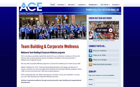 Screenshot of Home Page acetraining.com.au - Team Building & Corporate Wellness - Melbourne | A.C.E. - captured Nov. 16, 2016