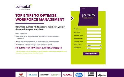 Screenshot of Landing Page sumtotalsystems.com - Tips to Optimize Workforce Management - captured Oct. 27, 2014